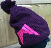 BONNET SHRED HEAVY KNITTED BORDEAU