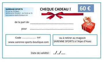 CHEQUE CADEAU 60 €